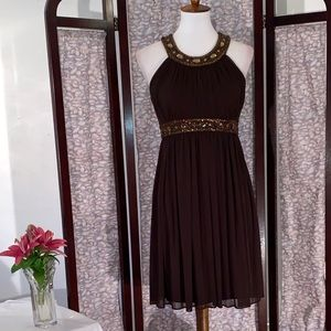 Cache brown sleeveless party dress.
